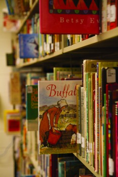 childrens books on a shelf in library